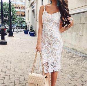 Goodnight Macaroon White Lace Dress